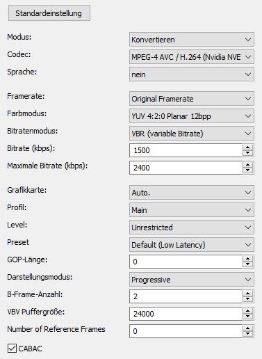 XMedia Recode - Nvidia NVENC H 264